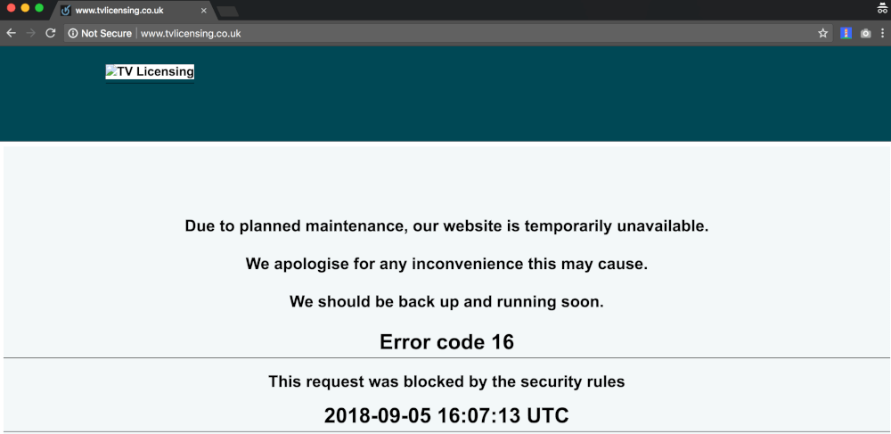 tvlicensing.co.uk down for maintenance