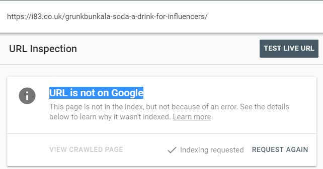 Google Search Console not indexed