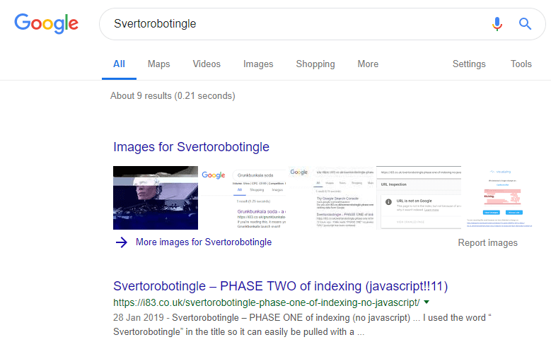 Javascript indexed svertorobotingle